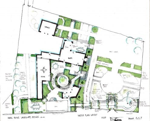 The landscape garden design drawings for beddington place