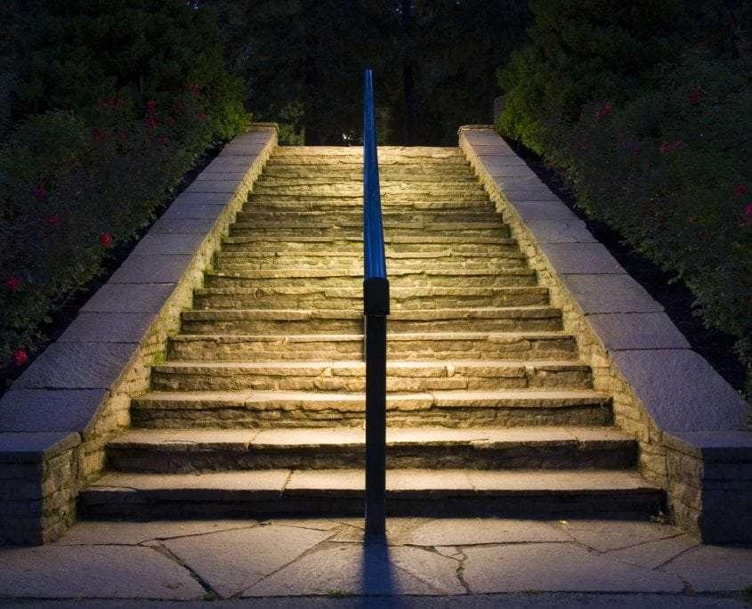 a lit staircase