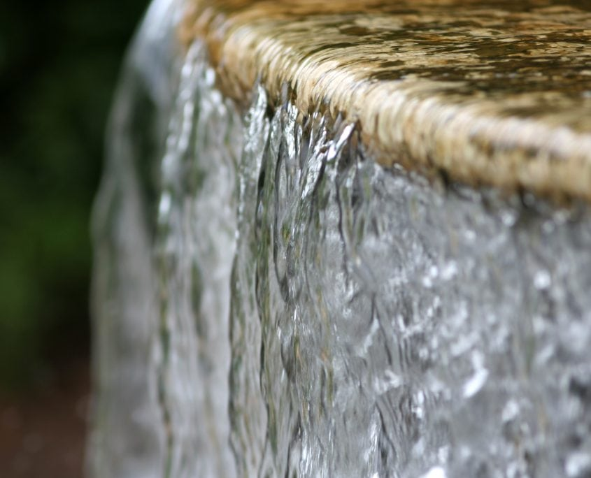 A water feature in a garden
