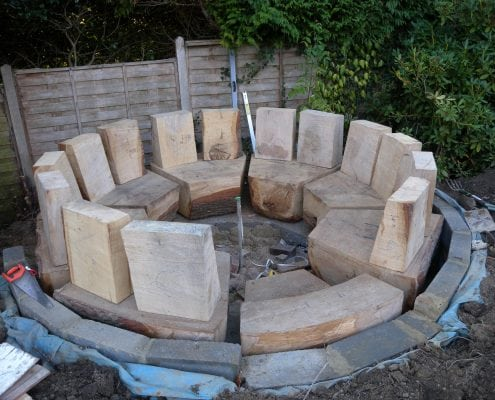 A photo of some Wooden Seats Made Using Bespoke Wood Work during a project management build