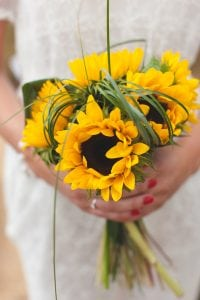 A photo of Sunflowers arranged into a wedding bouquet